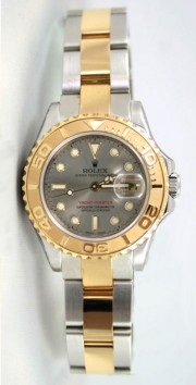 Rolex Yachtmaster Model 169623 Ladies Stainless Steel & 18K Yellow Gold Slate Dial