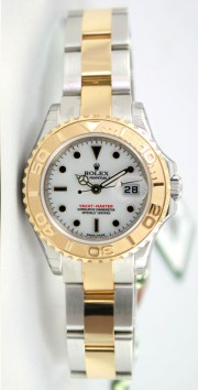 "Rolex Yachtmaster 169623 Ladies Steel & 18K Yellow Gold ""Inner Bezel Engraved' Model White Face with Onyx Hour Markers Unused"