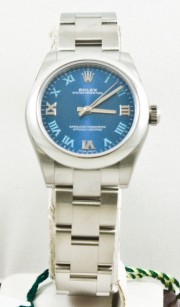 Unused Rolex 31mm Oyster Perpetual Watch Model 177200 Stainless Steel Oyster Band Rolex Blue Azurro Dial With Roman Numerals & Stainless Steel Smooth Bezel