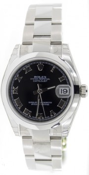 Rolex Datejust 178240 Midsize Stainless Steel New Style Heavy Oyster Band with Black Roman Numeral Dial