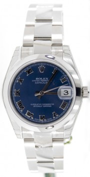 Rolex Datejust 178240 Midsize Stainless Steel New Style Heavy Oyster Band with Blue Roman Numeral Dial