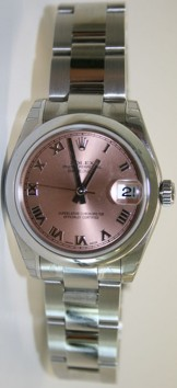 Rolex Datejust 178240 Midsize New Heavy Oyster Band with Pink Salmon Roman Numeral Dial