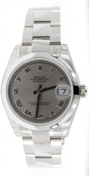 Rolex Datejust 178240 Midsize Stainless Steel New Style Heavy Oyster Band with Silver Roman Numeral Dial