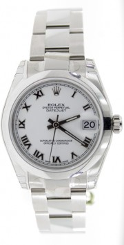 Rolex Datejust 178240 Midsize Stainless Steel New Style Heavy Oyster Band with White Roman Numeral Dial