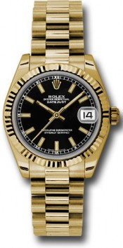 Rolex President 178278 Midsize 18K Yellow Gold New Style Heavy Model Black Index Face