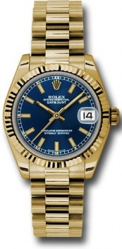 Rolex President 178278 Midsize 18K Yellow Gold New Style Heavy Model Blue Index Face