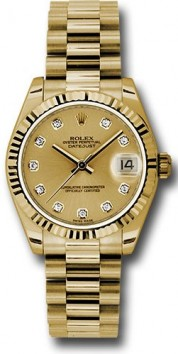 Rolex President 178278 Midsize 18K Yellow Gold New Style Heavy Model, Factory Champagne Dial, Diamond hour markers