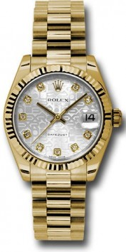 Rolex President 178278 Midsize 18K Yellow Gold New Style Heavy Model Silver Jubilee dial with Diamond hour markers
