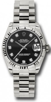 Rolex President 178279 Midsize 18K White Gold New Style Heavy Model Black Dial, 10 Diamond hour Markers