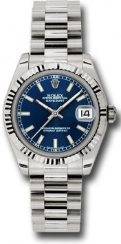 Rolex President 178279 Midsize 18K White Gold New Style Heavy Model Blue Index Face