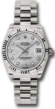 Rolex President 178279 Midsize 18K White Gold New Style Heavy Model, Factory Mother of Pearl Dial, 10 Diamond hour Markers