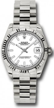 Rolex President 178279 Midsize 18K White Gold New Style Heavy Model White Index Face