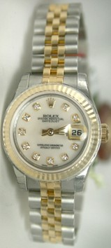 Rolex Datejust 179173 Ladies Steel & 18K Yellow Gold Jubilee Band Hidden Clasp, Custom Added Mother of Pearl Diamond Dial