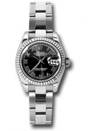 Rolex Lady's Datejust 179174 Stainless Steel Oyster Band Black Roman Dial & White Gold Fluted Bezel
