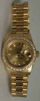 Rolex Presidential 178278 Midsize 18K Yellow Gold New Heavy Band Factory Champagne Diamond Dial and Custom Added 1ct Pave Set Diamond Bezel