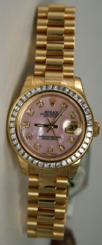 Rolex Presidential 178278 Midsize 18K Yellow Gold New Heavy Band Custom Added 1.5ct Princess Set Diamond Bezel and Pink Mother of Pearl Diamond Face