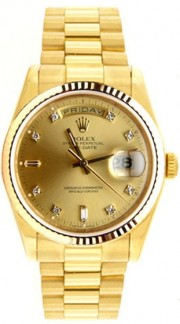 Rolex President Mens Like New SQ Model 18038 18K Yellow Gold w/Custom Added Champagne Diamond Dial and Fluted Gold Bezel-80's Beautiful!