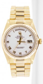 Rolex President Mens Like New SQ Model 18038 18K Yellow Gold w/ White Roman Dial & Fluted Gold Bezel-Mint Condition