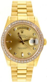 Rolex President Mens Perfect New Condition DQ Model 18238 In 18K Yellow Gold w/Custom Added 1ct Channel Diamond Bezel and Champagne Diamond Dial-90's