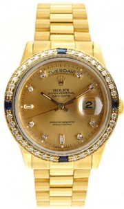 Rolex President Mens Perfect New Condition DQ Model 18238 In 18K Yellow Gold w/Custom Added Sapphire Diamond Bezel and Champagne Diamond Dial-90's