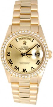 Rolex President Mens Perfect New Condition DQ Model 18238 In 18K Yellow Gold w/Champagne Roman Dial and Custom Added Bead Set Diamond Bezel,1994-1995