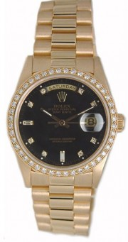 Rolex President Mens Perfect New Condition DQ Model 18238 In 18K Yellow Gold w/Custom Added Bead Set Diamond Bezel and Black Diamond Dial-90's