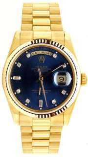 Rolex President Mens Perfect New Condition DQ Model 18238 In 18K Yellow Gold w/Custom Added Blue Diamond Dial-90's