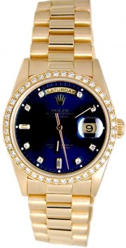 Rolex President Mens Perfect New Condition DQ Model 18238 In 18K Yellow Gold w/Custom Added Bead Diamond Bezel and Blue Diamond Dial-90's