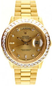 Rolex President Mens Perfect New Condition DQ Model 18238 In 18K Yellow Gold w/Custom Added Diamond Dial and Custom 3.5ct Channel Diamond Bezel-90's