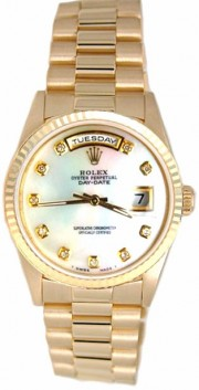 Rolex President Mens Perfect New Condition DQ Model 18238 In 18K Yellow Gold w/Custom Added Mother of Pearl Diamond Dial-90's