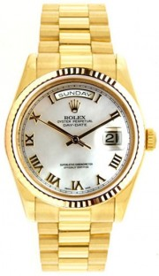 Rolex President Mens Perfect New Condition DQ Model 18238 18K Yellow Gold with Custom Added Mother of Pearl Roman Dial-Late 90's