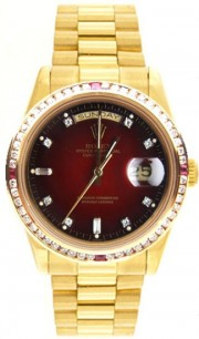 Rolex President Mens Perfect New Condition DQ Model 18238 In 18K Yellow Gold w/Custom Added Red Vignette Diamond Dial and Four Corner Ruby Diamond Bezel-90's Amazing!