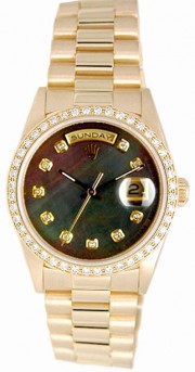 Rolex President Mens Perfect New Condition DQ Model 18238 In 18K Yellow Gold w/Custom Added Dark Tahitian MOP Diamond Dial and Bead Set Diamond Bezel-90's