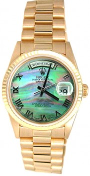 Rolex President Mens Perfect New Condition DQ Model 18238 In 18K Yellow Gold w/Custom Added Green MOP Roman Dial-90's