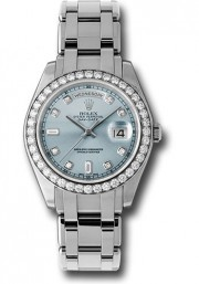 Rolex Men's 39mm Platinum Masterpiece Watch Reference: 18946 Platinum Masterpiece Band With A Factory Ice Blue Diamond Dial & A Factory Diamond Bezel