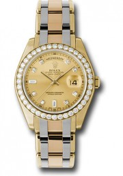Rolex Men's 39mm Tridor Masterpiece Watch Model 18948 18k Yellow & White Gold Band With A Factory Champagne Diamond Dial & A Rolex Diamond Bezel