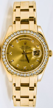 Rolex Men's 39mm Masterpiece Watch Model 18948 18k Yellow Gold Band With A Factory Champagne Diamond Dial & A Rolex Diamond Bezel