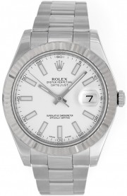 Rolex Datejust II 116334 Stainless Steel Oyster Band White Gold Fluted Bezel & White Stick Dial - 41mm