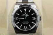 Rolex 39mm Stainless Steel Oyster Perpetual Explorer New Style Heavy Oyster Band Model 214270 Black Face Stainless Steel Smooth Bezel - UNUSED