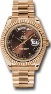 Rolex Day-Date II 218235 18k Rose Gold 41MM Brown Dial, Roman Numerals