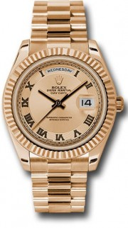 Rolex Day-Date II 218235 18k Rose Gold 41MM  Pink Champagne Concentric Circle Dial, Roman Numerals