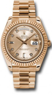 Rolex Day-Date II 218235 18k Rose Gold 41MM  Champagne Dial, 8 Round and 2 Baguette Diamond Hour Markers