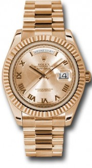 Rolex Day-Date II 218235 18k Rose Gold 41MM  Rosee Roman Numeral Face