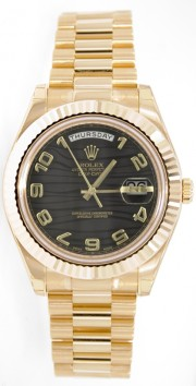 Rolex Day-Date II 218238 18K Yellow Gold 41MM Black Wave Arabic Dial