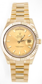 Rolex Day-Date II 218238 18K Yellow Gold 41MM Champagne Index Dial
