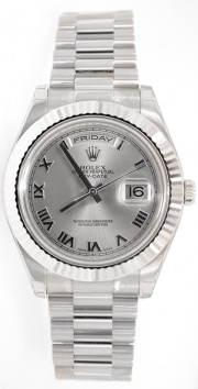 Rolex Day-Date II 218239 18K White Gold 41MM Silver Roman Numeral Dial