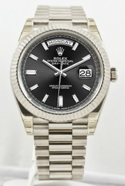 Unused Rolex Men's 40mm President Model 228239 18k White Gold Presidential New Style Heavy Band Rolex Black Dial With 10 Baguette Diamond Markers & A Fluted Bezel
