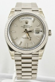 Unused Rolex Men's 40mm President Model 228239 18k White Gold Presidential New Style Heavy Band Silver Motif Dial With Index Markers & A Fluted Bezel