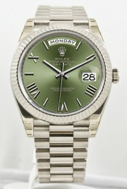 Unused Rolex Men's 40mm President Model 228239 18k White Gold Presidential New Style Heavy Band Olive Green Dial With Roman Markers & A Fluted Bezel