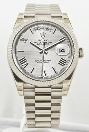 Unused Rolex Men's 40mm President Model 228239 18k White Gold Presidential New Style Heavy Band Silver Quadrant Motif Dial With Roman Markers & A Fluted Bezel